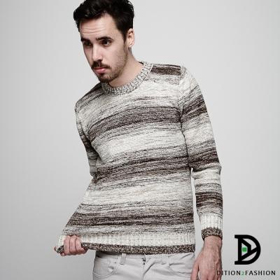 DITION 韓國暈染油畫橫條針織衫 粗針人字紋保暖毛衣