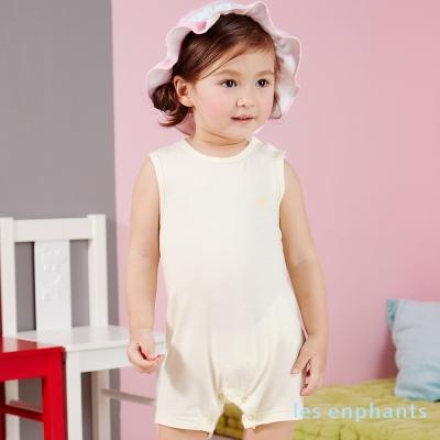 麗嬰房les enphants 冰涼牛奶條紋背心式連身裝 淺黃