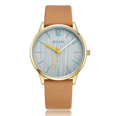 JULIUS聚利時 秋日暖陽直紋錶面皮錶帶腕錶-淺駝/36mm