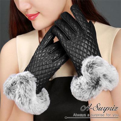 A-Surpriz-兔毛滾邊菱格紋觸控手套-黑