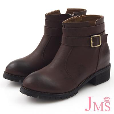 JMS-復古擦色帥氣側V口內增高短靴-咖啡色