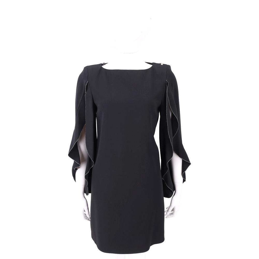 ELISABETTA FRANCHI 黑色荷葉袖絲質洋裝