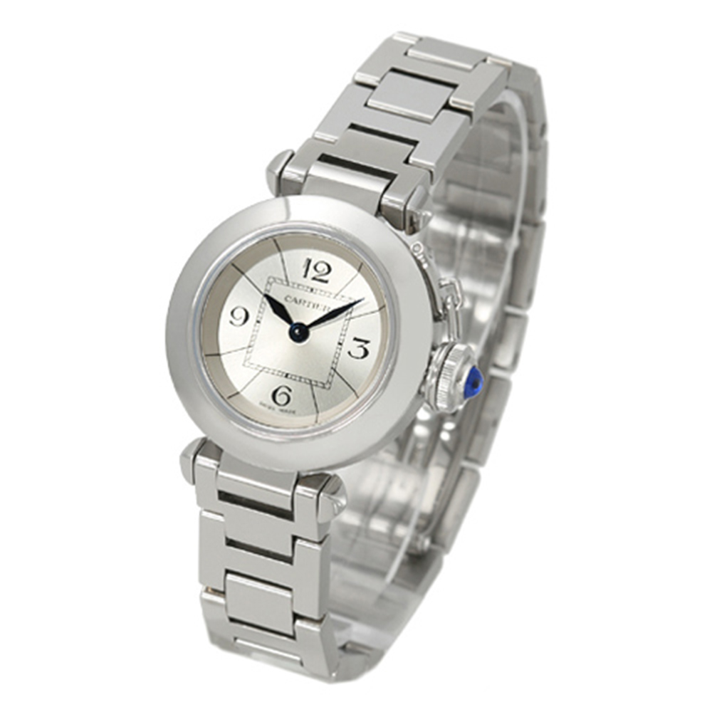 Cartier  MISS PASHA 時尚經典鍊帶腕錶-銀白/27mm