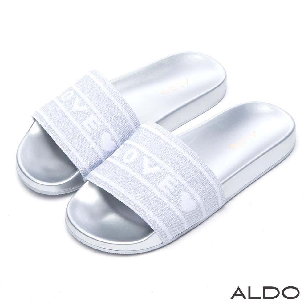 ALDO 雙色編織字母寬版懶人涼拖鞋~前衛銀色