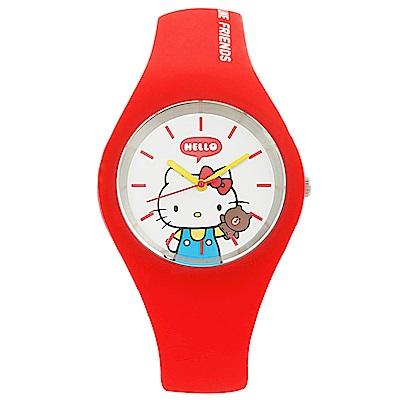HELLO KITTY 凱蒂貓 x LINE 限量聯名超萌KITTY手錶-紅/40mm
