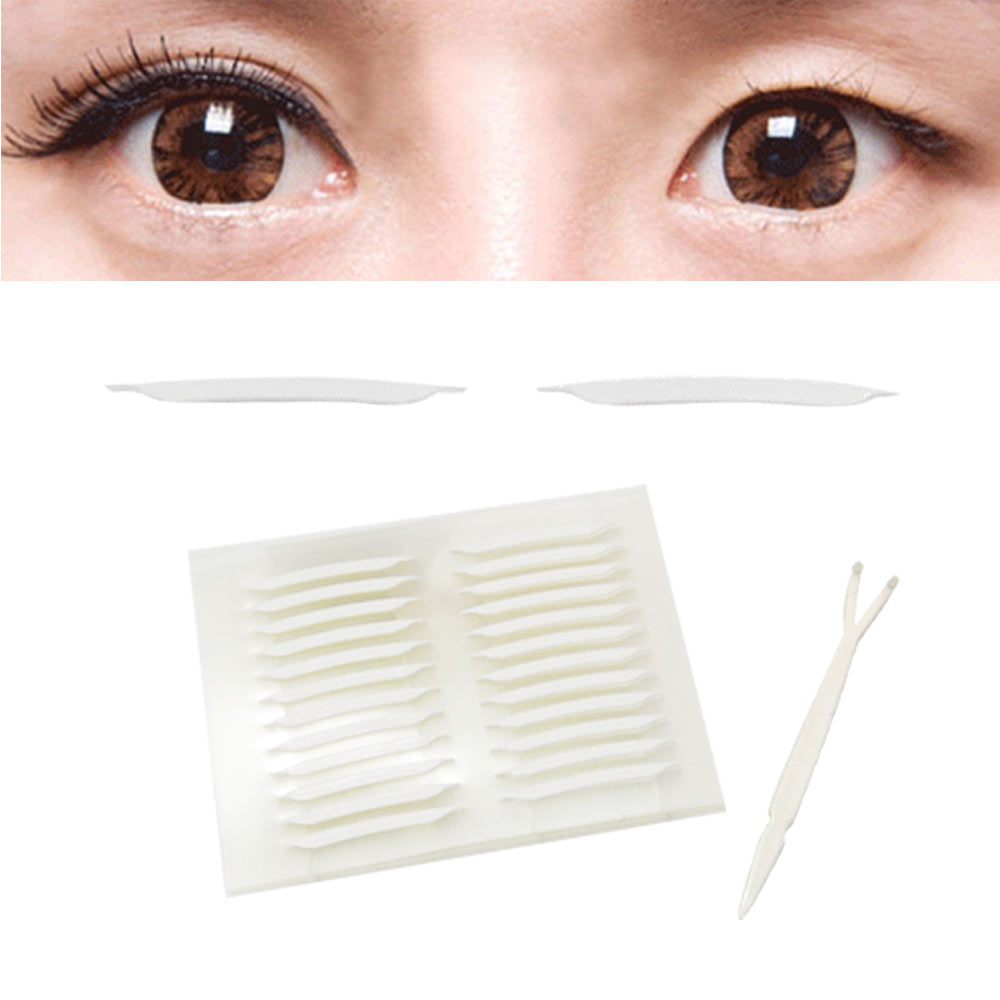 貝禮綺美妝韓國全隱形超強力雙面膠雙眼皮貼尖角極細版2mm超值加量168枚入-贈Y型棒