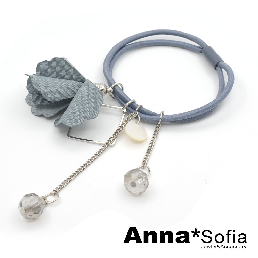 AnnaSofia 滴貝垂雙透珠瓣花 純手工彈性髮束髮圈髮繩(藍系)