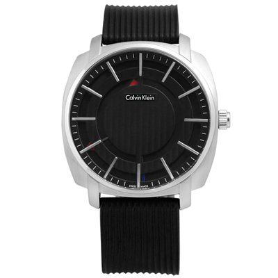CK Highline 尊爵立體層次線條矽膠腕錶-黑色/43mm