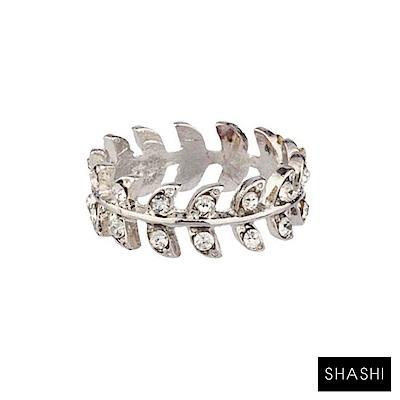 SHASHI 紐約品牌 Amelia 鑲鑽葉子圓形戒指 小寬版 925純銀