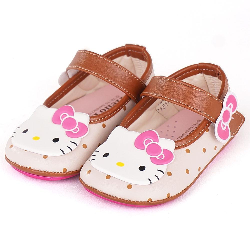 Hello Kitty專櫃款輕量纖維透氣皮學步寶寶童鞋-米