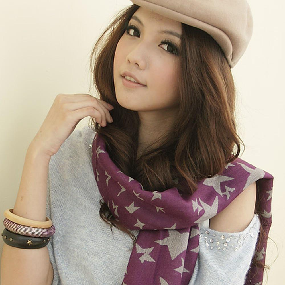 【I-shi】暖呼呼~雙面五角星厚款圍巾(紫)