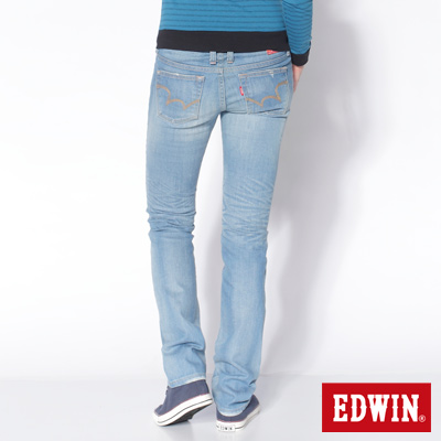 EDWIN EG503窄直筒顯瘦牛仔褲-女款(石洗藍)