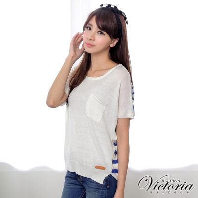 Victoria 口袋條紋寬鬆線衫-女-米藍