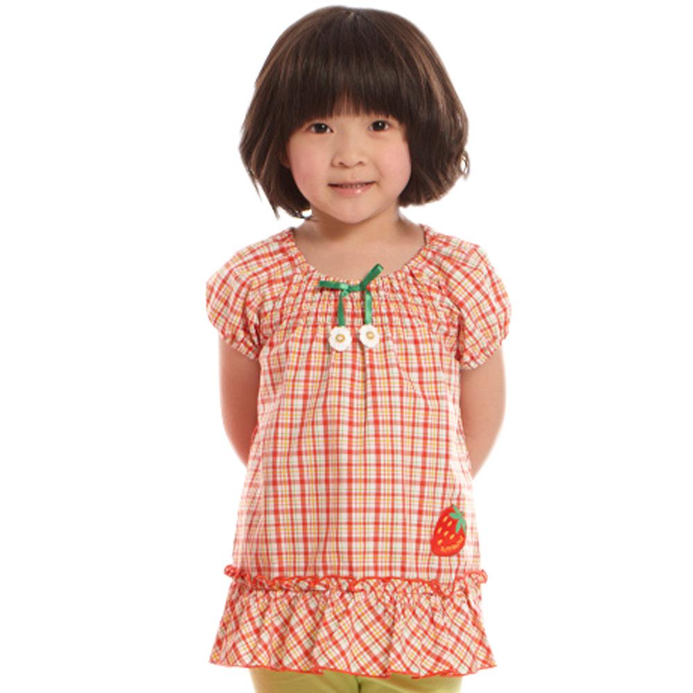 愛的世界 SUPERMINI 純棉鬆緊帶草莓格紋洋裝/6~8歲