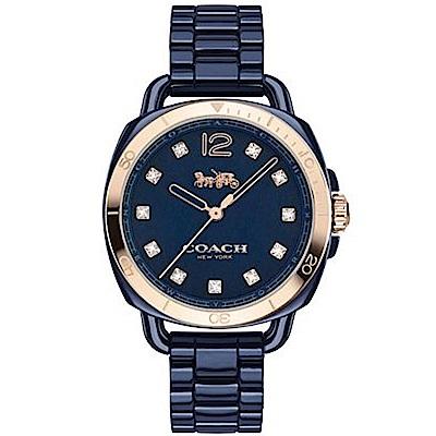 COACH 氣質時尚璀鑽陶瓷女腕錶/藍/14502753