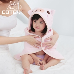 COTEX可透舒  可愛造型浴巾 品克豬 粉紅色