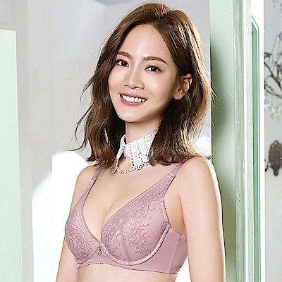 莎薇-法式深V輕粉水 B-D 罩杯增厚型內衣(藕灰紫)性感豐胸