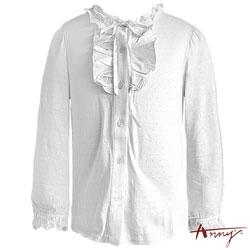 Anny甜美浪漫荷葉高領單排釦長袖上衣*4268白