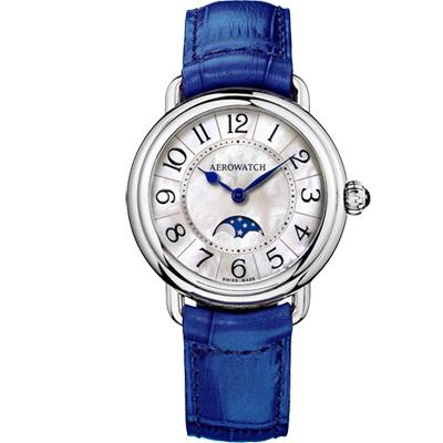 AEROWATCH 歐式風尚月相顯示經典女錶-珍珠貝x藍/35mm