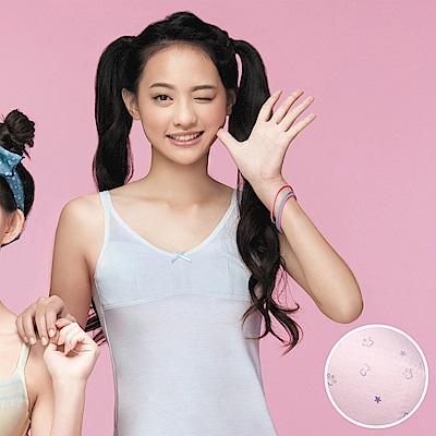 嬪婷 學生內衣 第一階段 M-3L 晶球牛奶細帶長版背心(粉嫩紫)