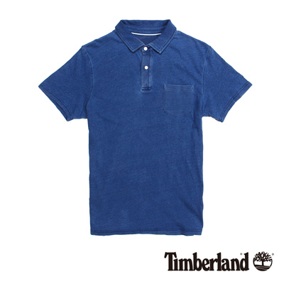 Timberland-男款牛仔藍雙扣單口袋短袖PO