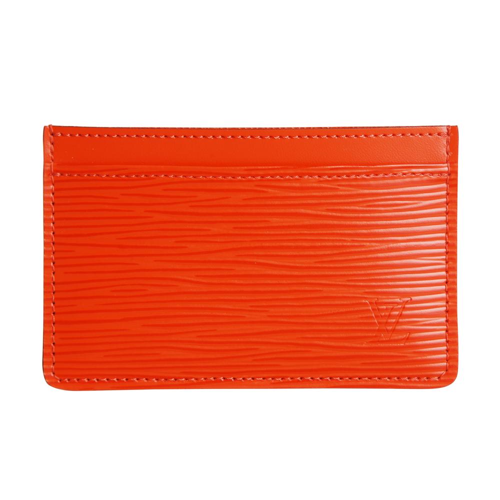 LV 【M60333】經典水波紋EPI造型多功能卡片夾(橘)