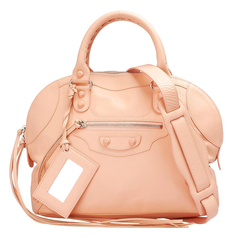 BALENCIAGA MINI BOWLING小橡膠釦手提/斜背保齡球包(粉紅)