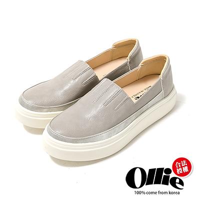 Ollie韓國空運-正韓製皮革彷舊銀邊線條懶人鞋-灰
