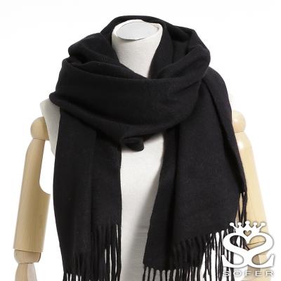 SOFER-100-喀什米爾加厚保暖披肩-圍巾-個性黑