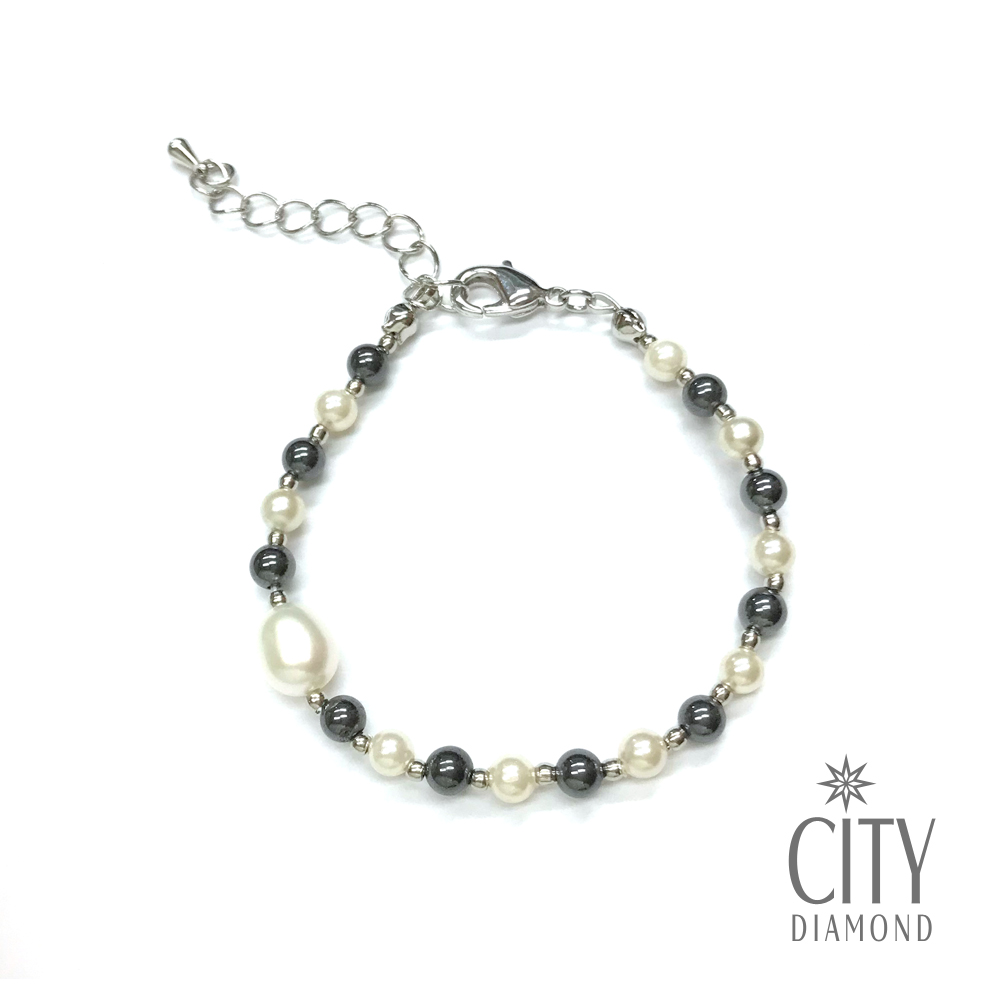 City Diamond引雅 【手作設計系列 】天然水滴珍珠黑膽石手鍊