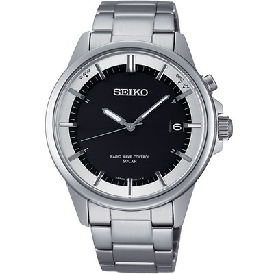SEIKO SPIRIT 太陽能電波計時腕錶-黑/39mm