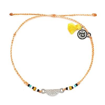 Pura Vida 美國手工 銀色水果切片黃色流蘇 蜜桃橘臘線可調式防水手鍊 衝浪手繩