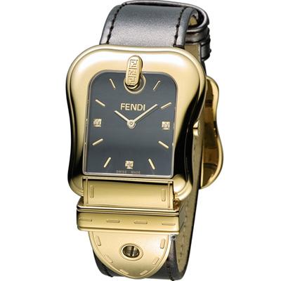 FENDI B.Fendi 完美時尚腕錶-黑x金/黑面/33x44mm