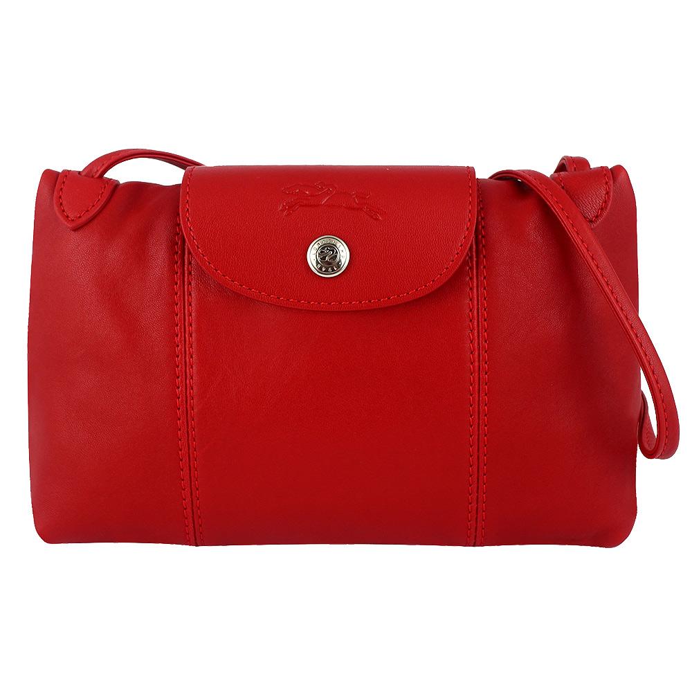 Longchamp Le pliage Cuir小羊皮輕巧斜背包(櫻桃紅色)LONGCHAMP