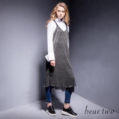 beartwo-銀蔥造型蕾絲內襯條紋吊帶裙-黑色