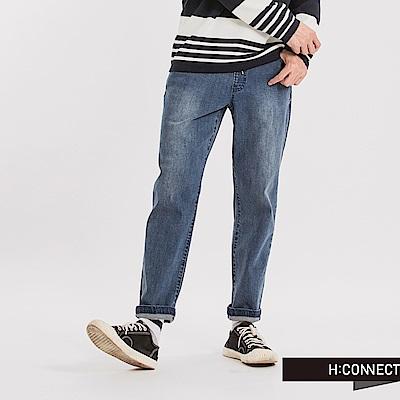 H:CONNECT 韓國品牌 男裝 - 彈性抽繩牛仔褲-藍