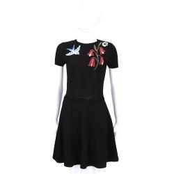 RED VALENTINO 黑色花鳥圖印短袖針織洋裝