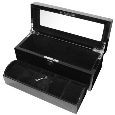 手錶收藏盒 5只入 鋼琴烤漆原木手錶收藏盒 夾層 鋼琴12~1