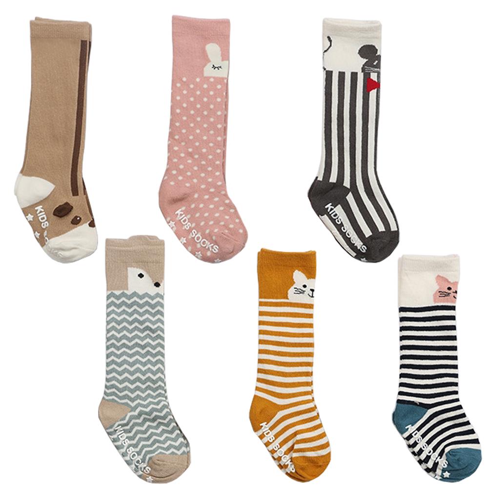 卡通動物 純棉中筒 兒童防滑襪-2雙入
