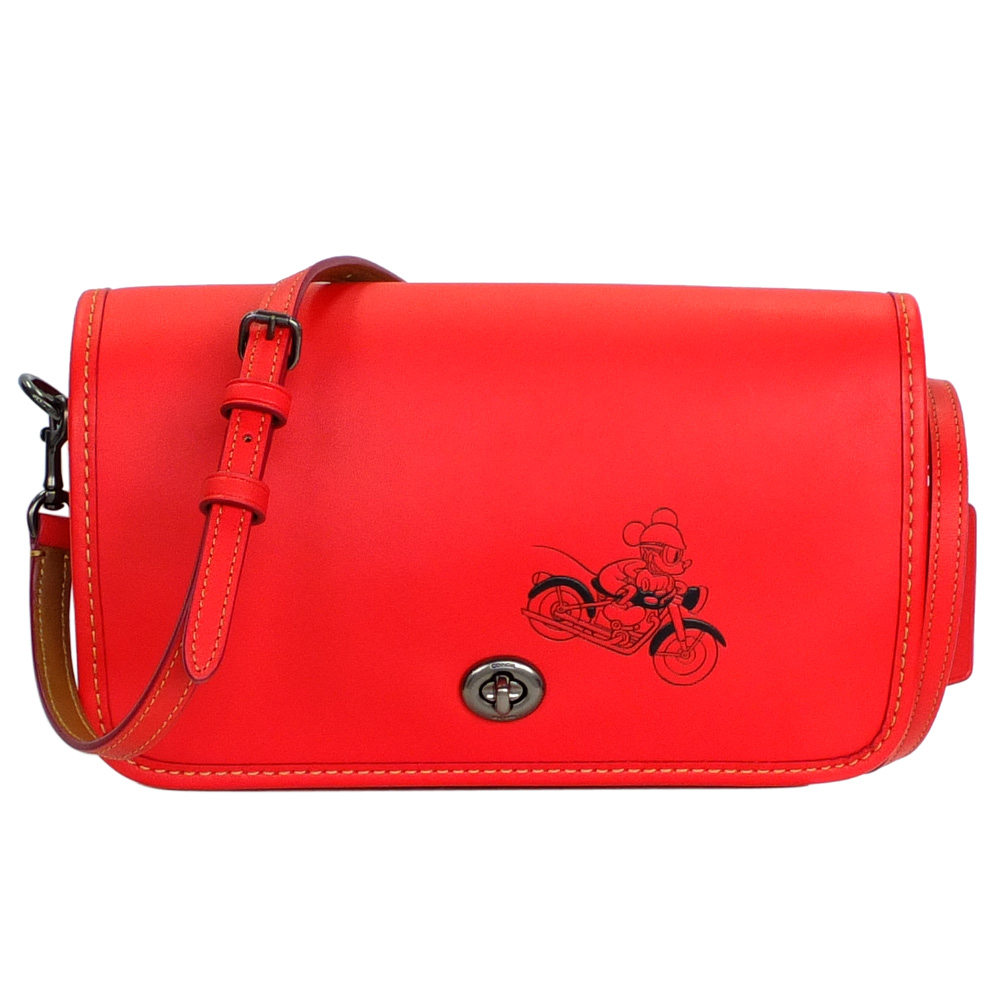 COACHXDISNEY聯名款紅色全皮打檔車MICKEY手抓/斜背小方包