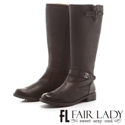 Fair Lady 高雅紳士交叉扣帶長筒靴 黑