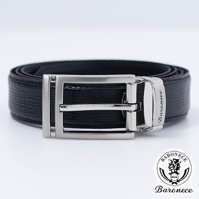 BARONECE 時尚色系嚴選高品質皮革皮帶_黑色(517006)