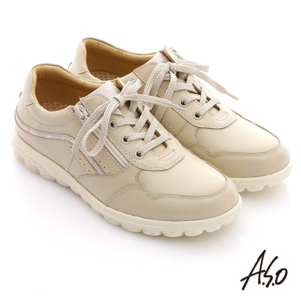 A.S.O 輕量樂活 綁帶拉鍊牛皮奈米氣墊鞋 卡其