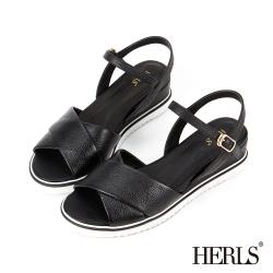 HERLS 微甜系女孩 真皮交叉條帶楔型涼鞋-黑色