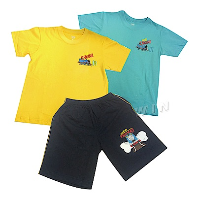 湯瑪士小火車 兒童精梳棉彩色短袖T恤2件+短褲1件-混色- MIT