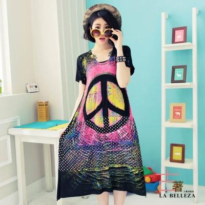 古著 大和平標誌拼接圓點刷色彩繪洋裝