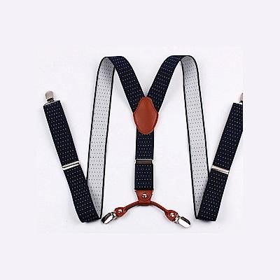 拉福   3.5CM吊帶四夾紳士吊帶(深藍底白點)