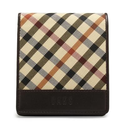 DAKS 經典格紋帆布零錢袋短夾-咖啡色