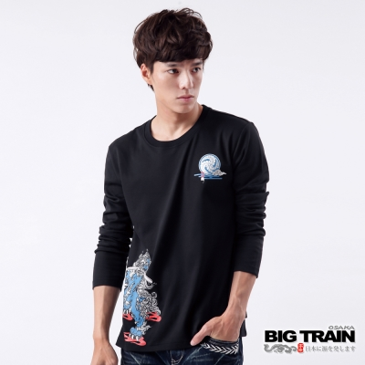 BIG TRAIN-踏焰唐獅印花TEE-黑