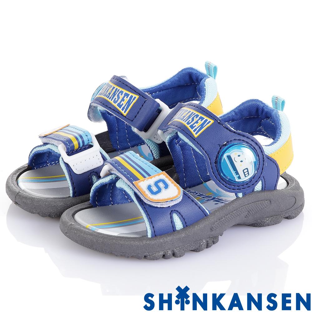 ShinKanSen新幹線 減壓防滑電燈休閒涼鞋童鞋-藍(中小童)